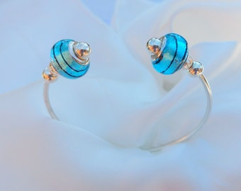 Carolina Panthers colors-Blue with Black Stripe Glass Bead Sterling Silver Bracelet Cuff, unique contemporary design