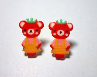 Cute Bear with Crown Stud Earrings - Red Brown