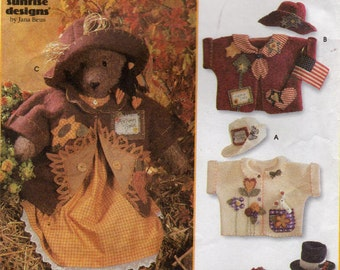 "Sewing Pattern - Simplicity Crafts 7606 - 31"" Bear, Dress, Hats and Jackets - Stuffed Bear Doll"