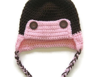 Ready To Ship - Brown and Pink Crochet Baby Eskimo Hat - Aviator Baby Hat - Crocheted Baby Girl Eskimo Hat - Size 6 to 12 Months