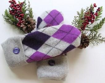Felted Wool Mittens - Fleece Lined Wool Mittens - Purple & Gray Argyle Wool Mittens - Recycled Wool Mittens - Upcycled Wool Mittens
