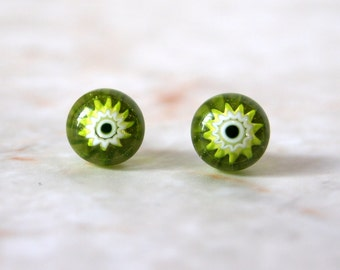 Lime Green Floral Fused Glass Post Earrings
