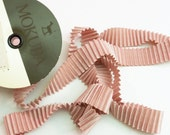 "Rare Very High End Mokuba Pleated Satin Ribbon in a dusty pink mauve color 25mm wide 56"" length"