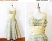 25% OFF SALE 50s prom dress, vintage 1950s green tulle lace party dress, extra small cupcake dress