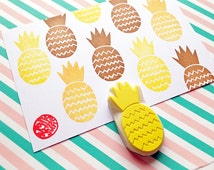 pineapple stamp. hand carved tropical fruit rubber stamp. summer themed birthday. scrapbooking. gift wrapping. block printing. card making