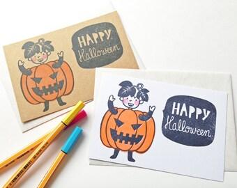 happy halloween card, jack o lantern pumpkin greeting card, boy hand printed blank note card, postcard + envelope, halloween illustration