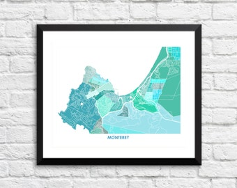 Monterey Map Print.  Choose the Colors and Size.  California Coastal Decor.  CA Wall Art.