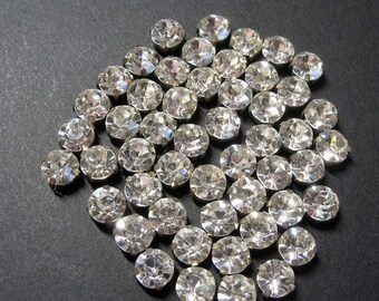 50s Vintage 51 Pc Lot Clear Rhinestone Montee Beads 9 mm, Faceted Glass Foil Back Prong Set Metal Mount, Sew Through Jewelry Craft Trim