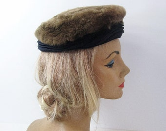 40's 50's Vintage Fur Pillbox Hat, Brown Fur + Navy Blue Pleated Rayon Crepe, Model By Yandell, Day Casual to Cocktail Hat
