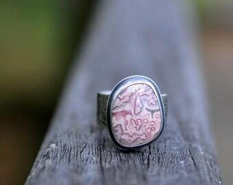 Sterling Rhodochrosite Ring, Oxidised Sterling Silver Wide Band Ring, Gemstone Metalwork Ring - Jasmine Ring in Rhodochrosite