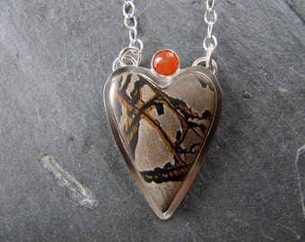 Heart Pendant of Death Valley Jasper and Peach Moonstone in Sterling Silver