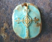 Handmade Rustic Turquoise Boho Cross Pendant Western Cowgirl Jewelry Ceramic Clay Pottery
