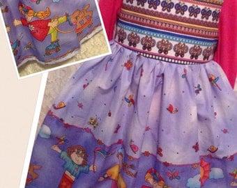 CUSTOM SIZES * Back to School border * skateboard puppy butterfly classic jumper dress child 2 3 4 5 6 7 - sewnbyrachel