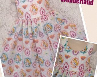 Alice In Wonderland Disney * classic style dress jumper CUSTOM SIZES for girl 2 3 4 5 6 7 8 10 12 14 your choice - sewnbyrachel