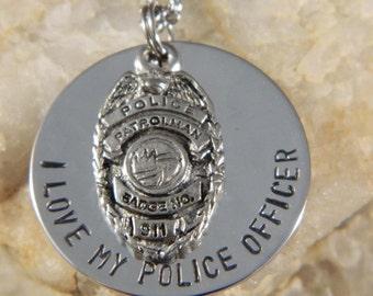 I love My Police Officer, Please Keep Him/Her Safe Handstamped Necklace