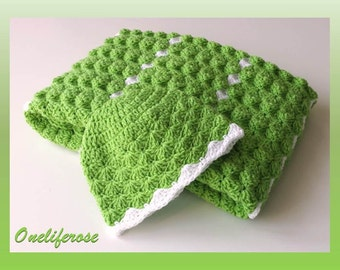 Crochet Baby Blanket+Baby Beanie  , Handmade Baby Blanket, Baby Boy Blanket,Baby Girl Blanket,Apple Green-White  Colors