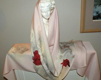 Handmade Silk Kimono Fabric Wrap/Shawl/Scarf/Shrug..Painted Floral/Roses/Ladybug.Long Island Bride/Wedding Gift/Pink/Grey/Ivory/Rose/Clutch