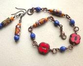 Bracelet and earrings set, vintage flower power beads