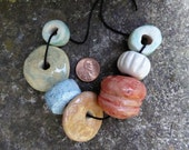 Artisan made ceramic beads - set of 7 - light green, turquoise, white, tan and pink coral - M to XL