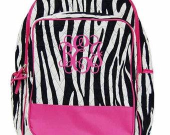 Monogrammed Quilted Zebra Backpack