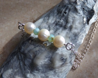 Freshwater Pearl & Ice Blue Czech Glass Necklace. Sterling Silver Chain