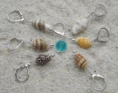 Crochet Knitting Seashell Stitch Markers -  removable markers - tiny seashell and beach glass sea glass beads - set of 7