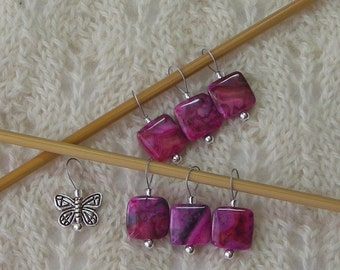 Knitting Stitch Markers - Pink Crazy Lace Agate - snag free loops - 12mm square stones and silver - set of 5 7 9 - two loop sizes available