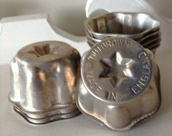 10 Vintage Nutbrown Jelly or Pudding Molds, Made in England