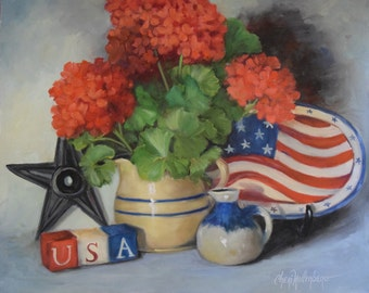 Still Life Painting,We Love America,Patriotic Themed Oil Painting, Original Canvas Art by Cheri Wollenberg