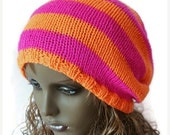ON Sale Knitted Slouchy Beanie Dreads Hat Shocking Pink Bright Orange