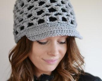 Womens Newsboy Hat, Crochet  Baker Boy Hat, Peaked Winter Hat , Black Grey Hat