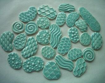 27PAJA - 27 pc PALE JADE Stamped Circles - Ceramic Mosaic Tile Set