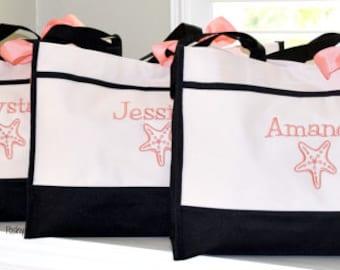 Personalized Starfish totes Bridesmaids tote Monogrammed, Bridal party, Bridesmaid gift, maid of honor
