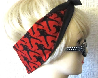 Elvis Hair Tie Fabric Head Scarf by Dolly Cool The King of Rock and Roll Guitar Strut Red Black OOP