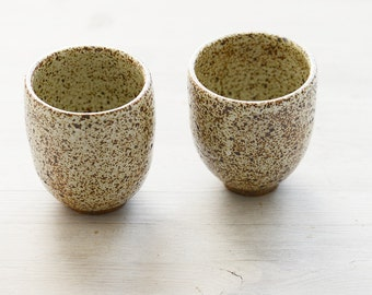 Two Wheel Thrown stoneware speckled tumblers or tea cups