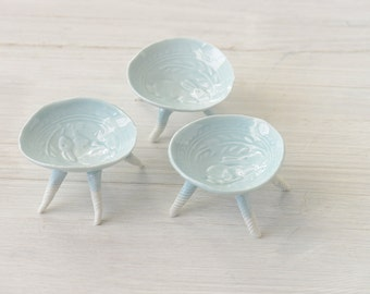 3 Ceramic Pottery porcelain small bunny dish with feet in Robin's egg blue
