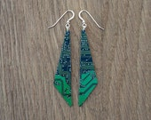 green circuit board earrings | triangle earrings | one of a kind | gift for her | upcycled jewelry