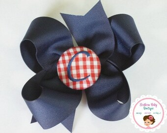 Boutique Monogrammed Baby Toddler Girl Hair Bow Clip---GINGHAM---Navy Red White---You Pick Letter---BACK To SCHOOL