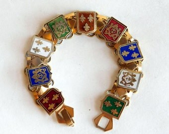 Vintage Goldtone and Enamel Coat-of-Arms Bracelet - Guilloche Enamel - British and French Heraldic Shields - Colorful Link Bracelet