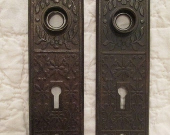 Vintage set of Eastlake door knob metal backplates