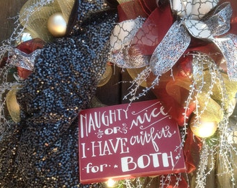 NAUGHTY or NICE OUTFITS wreath on gold deco mesh, real dress on side, shatterproof ornaments, holiday wreath