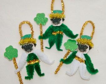 Pug Chenille Dog St. Patrick's Day Ornaments, Pug, Bump Chenille Vintage Style (175)