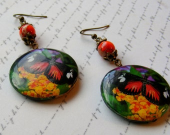 Orange Butterfly Earrings-decoupage and stone, 2 1/2 inches or 6 cm