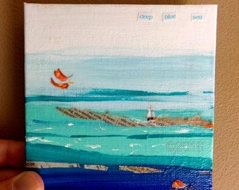 Deep Blue Sea Mini Painting, Home Decor