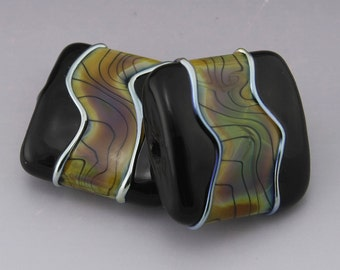 Raku Tiger Stripes Lampwork Beads Handmade Black Square Tile Earring Pair Heather Behrendt (1359) BHV SRA LETeam