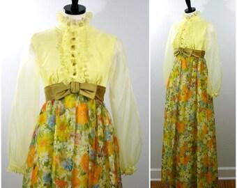 Sale Vintage 1960s Formal Gown, Victorian Revival Empire Waist Floral Maxi Dress, Bridesmaid Wedding Dress