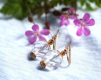 Faceted Quartz Crystal Earring