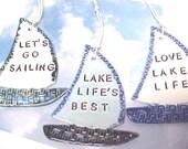 Sailboat Ornaments Nautical Ocean or Lake Themes || Beach Decor || I'd Rather Be Sailing || Love Beach Life || Life's Best at the Beach