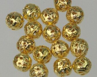 Wholesale Lot 500 pcs of Gold Plated Filigree Round Beads Spacer - 6mm - Ship from California USA