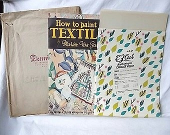 1950s How to Paint on Textiles Book + Vintage American Crayon Stencil Paper